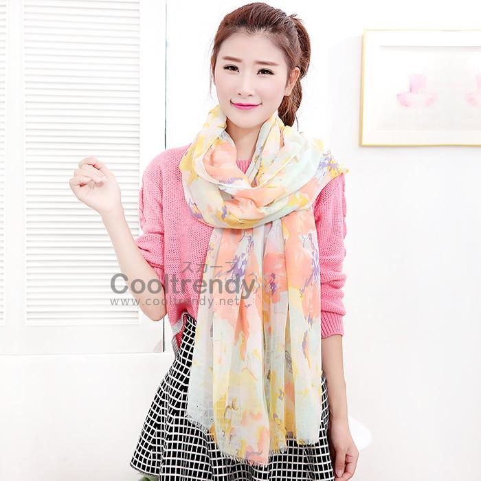 ผ้าพันคอวินเทจ Pastel scarf สีชมพูเหลือง - ผ้าพันคอ Viscose - size 180x110 cm