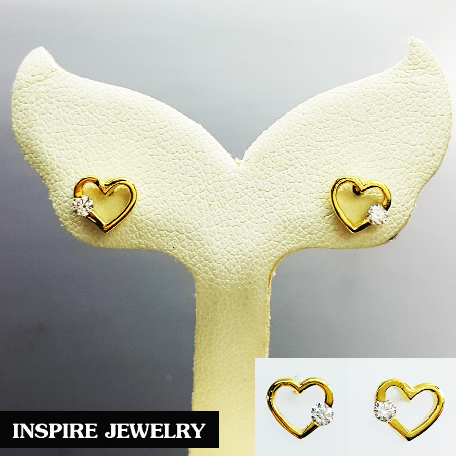 INSPIRE JEWELRY ต่างหูเพชรสวิสรูปหัวใจ ปักก้าน ขนาด 0.5x0.5cm.น่ารักมาก งานแบบร้านทองร้านเพชร หุ้มทองแท้ 24K 100%