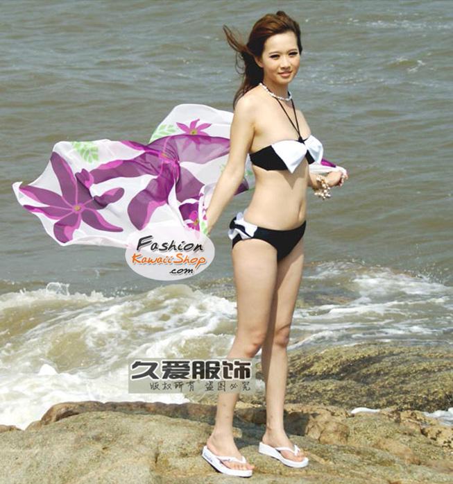 ผ้าคลุมชายหาดลายดอกไม้ Blossom : สีชมพูม่วง AB0015