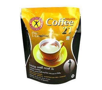 เนเจอร์กิ๊ฟ coffee 21 ขนาด 10ซอง กาแฟปรุงสำเร็จชนิดผง ผสมแอลคานิทีน วิตามิน แร่ธาตุ และใยอาหาร