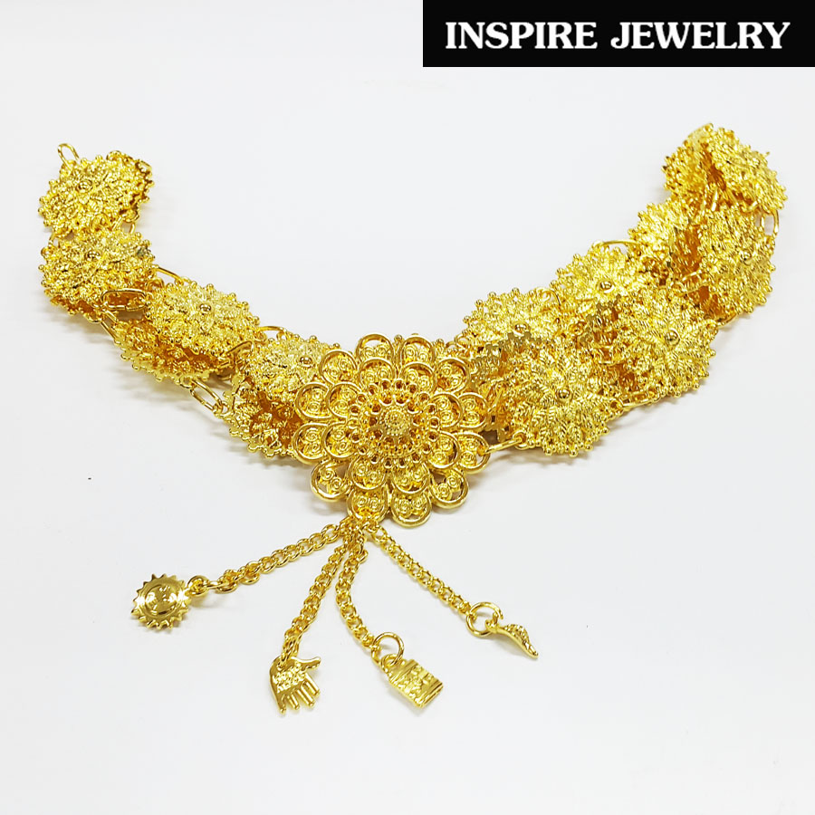 Inspire Jewelry เข็มขัดเทียมเงิน สีเงิน สีทอง ให้เลือกใส่ ตอกลายนูนต่ำ สวยหรู สง่างาม พร้อมถุงซิบใสขุ่นไว้เก็บ เหมาะกับชุดไทย ผ้าฝ้าย การะเกตุ บุพเพสันนิวาส