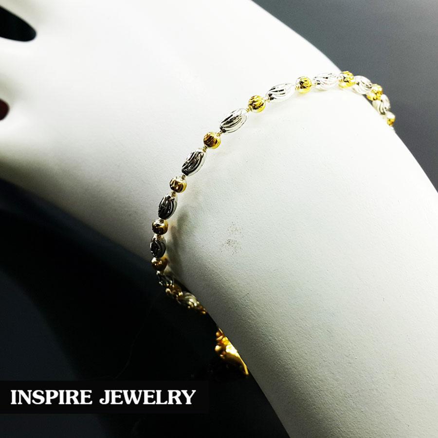 Inspire Jewelry สร้อยข้อมือเม็ดอิตาลี 2กษัติรย์ 18