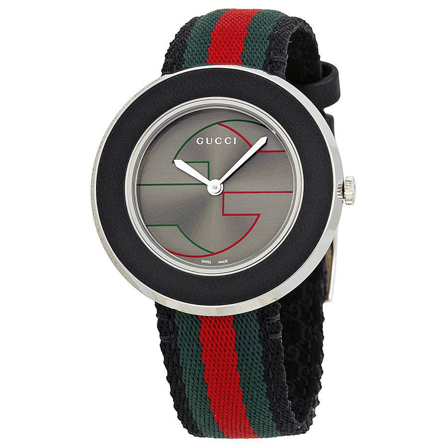 GUCCI U-Play Grey Dial Nylon Strap Ladies Watch YA129444