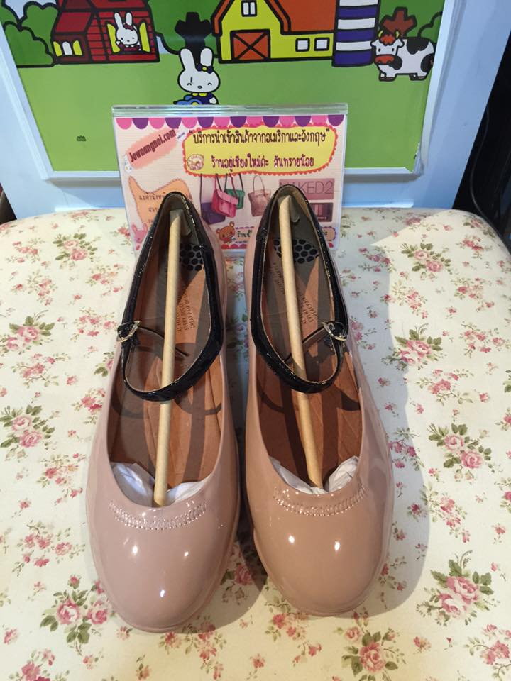 (พร้อมส่ง) FitFlop Women's F Pop Patent Mary Jane Flat, Nude Patent, 7 M US
