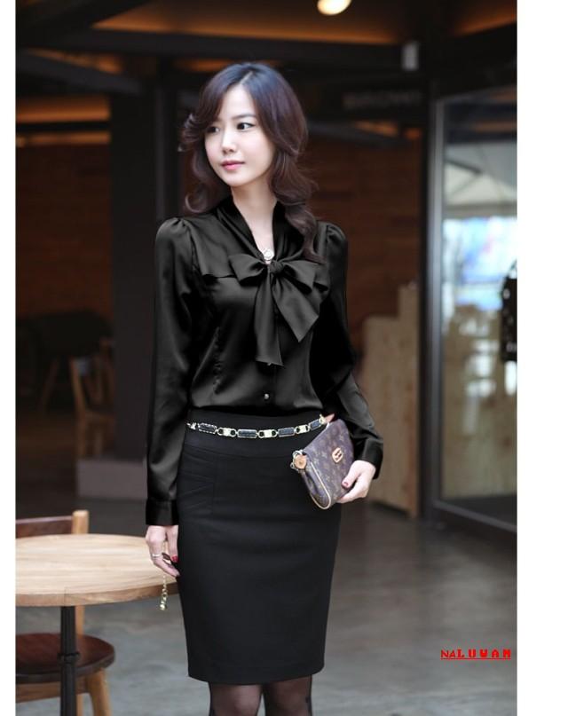 เสื้อเชิ้ตทำงานแขนยาวสีดำ ผูกโบว์หน้า สวยเรียบร้อย