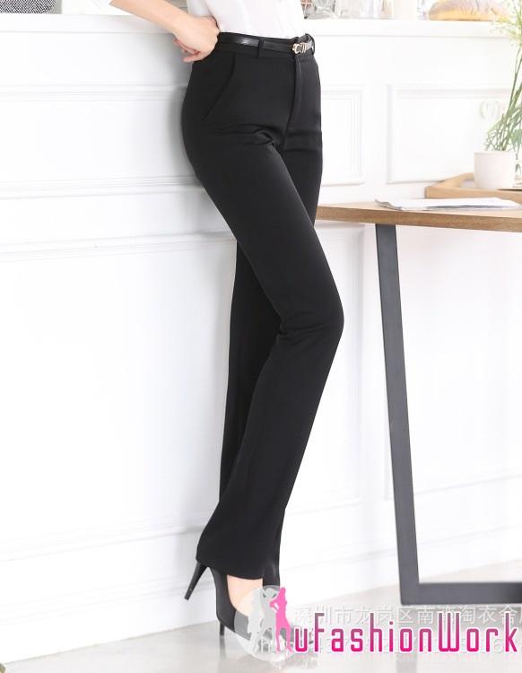 กางเกงทำงานขายาวเรียบๆใส่ทำงาน สีดำ