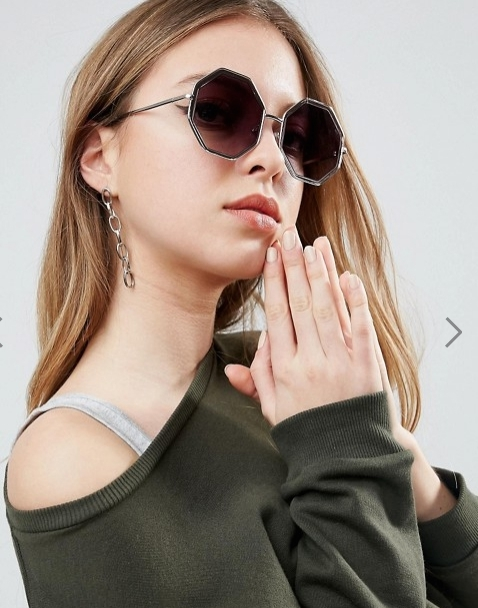 ASOS Hexagon Sunglasses In Rose Gold