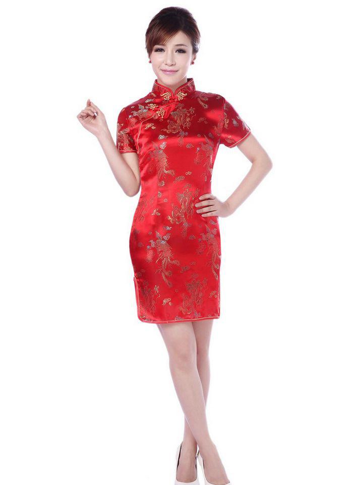 Size M / L / XL ระบุไซส์ด้วนะค่ ชุดกี่เพ้าพร้อมส่งสีแดงคอจีน ลายมังกร สวยมากๆ