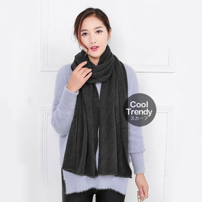 ผ้าพันคอไหมพรม ผ้า cashmere scarf size 180x30 cm - สี dark grey