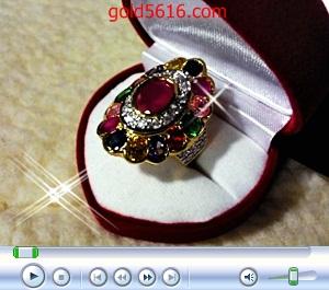 แหวนพลอยนพเก้าพลอยกลางล้อมเพชรหน้าทองคำขาว ทอง 2microns