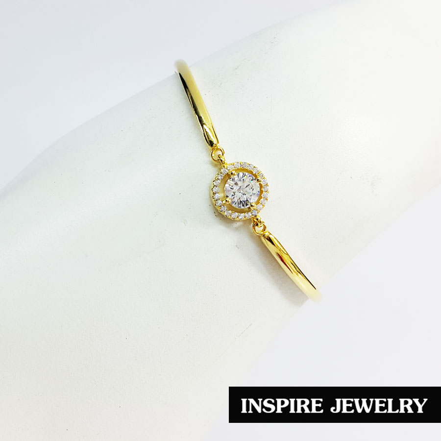 Inspire Jewelry ,สร้อยข้อมือเพชรสวิสเม็ดกลมล้อมเพชรรอบ ใส่ง่าย ปรับไซด์ได้ สวยหรู คงทน งานคุณภาพ