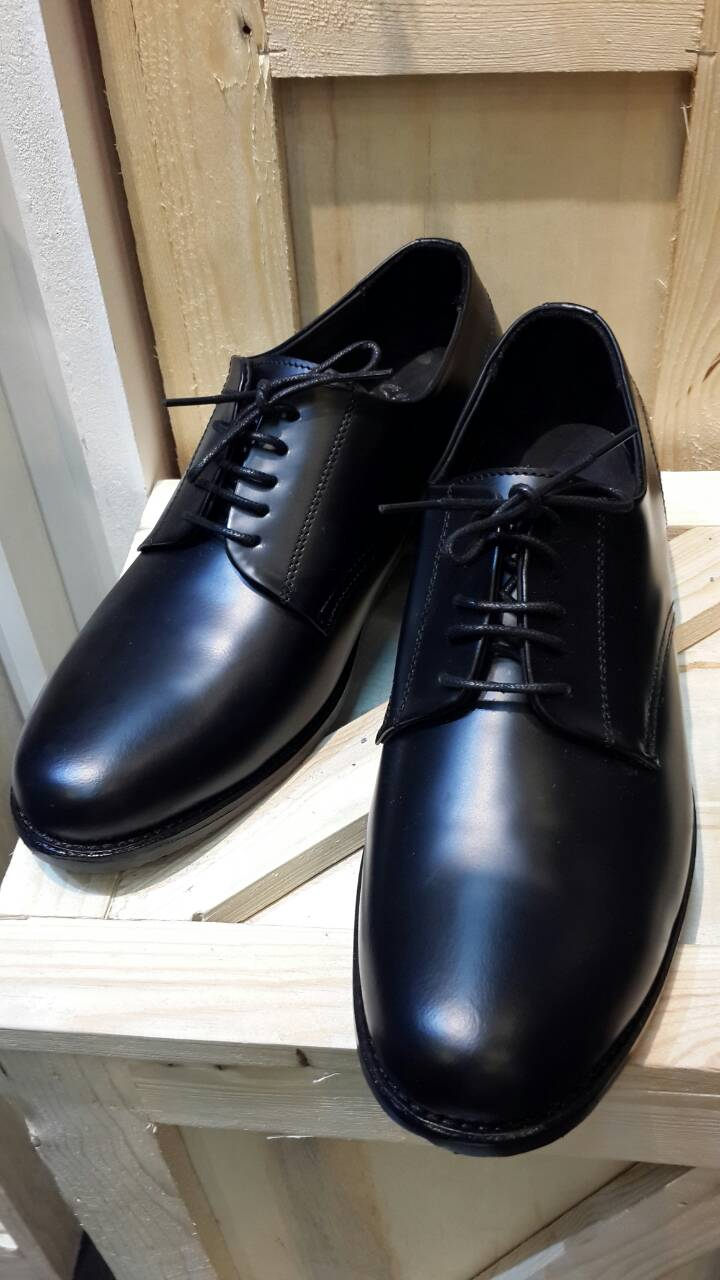 รองเท้าผู้ชาย | รองเท้าแฟชั่นชาย Black Derby Cut Shoes Smooth Leather หนังวัวแท้