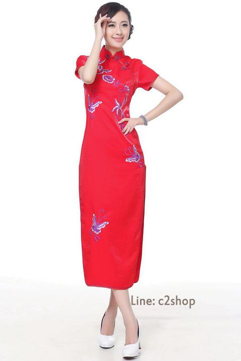 Size L พร้อมส่งชุดกี่เพ้าแขนสั้นสีแดงเนื้อผ้าไหมแบบยาว