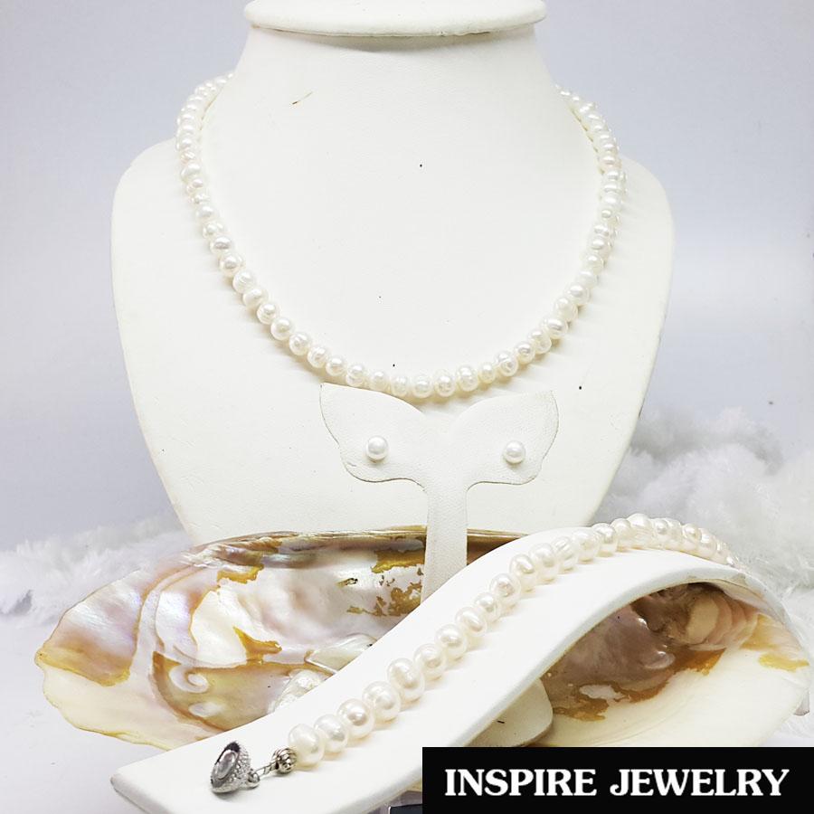 Inspire Jewelry ชุดเซ็ทมุกน้ำจืดภูเก็ตของแท้ สร้อยคอ สร้อยข้อมือ ต่างหู และกล่องกำมะหยี่