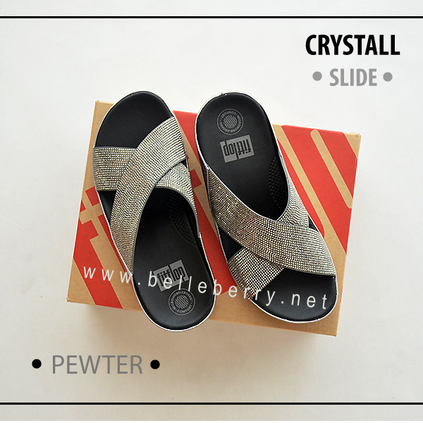 * NEW * FitFlop CRYSTALL Slide : Pewter : Size US 6 / EU 37
