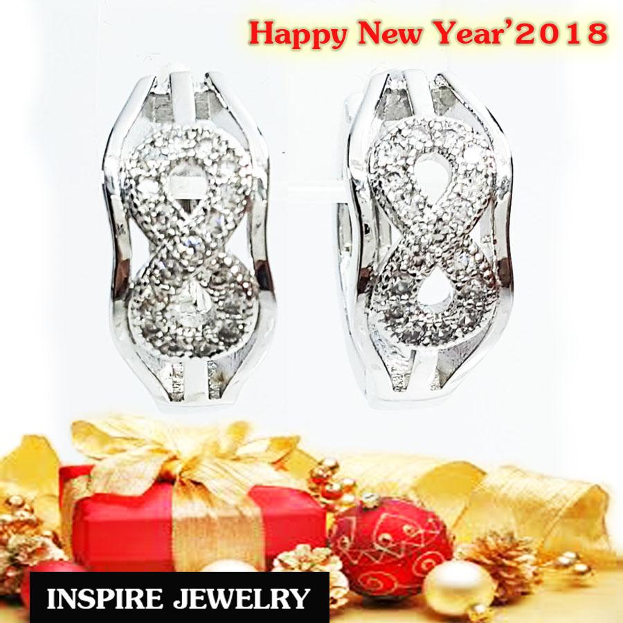 INSPIRE JEWELRY ต่างหูฝังเพชรสวิสรูปอินฟินิตี้ ขาล็อค white gold plated งานจิวเวลลี่แบบร้านเพชร พร้อมถุงกำมะหยี่
