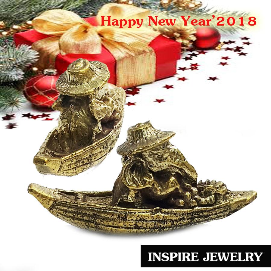 Inspire Jewelry ข้างนั่งใส่หมวก พายเรือ ขายของ หล่อทองเหลือง น่ารัก จิ๋ว 2CM น่ารัก นำโชค ค้าขายดี เป็นของที่ระลึก ปีใหม่ 2018 ,ตั้งโตีะ ทับกระดาษ