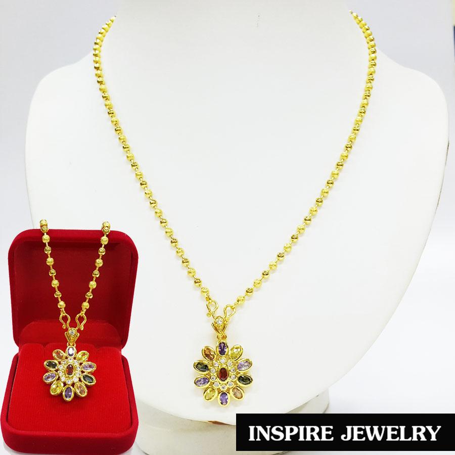 "Inspire Jewelry , จี้พลอยนพเก้าฝังเพชร งานจิวเวลลี่ ขนาด2cm. พร้อมสร้อยคอ ไข่ปลาสามมิล ยาว 18""และกล่องกำมะหยี่ ตัวเรือนหุ้มทองแท้ 100% 24K นำโชค เสริมดวง โชคลาภ"