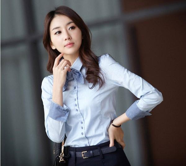 เสื้อเชิ้ตผู้หญิงแขนยาว เป็นชุดทำงานชุดยูนิฟอร์ม สีฟ้า แบบเรียบๆ พร้อมโบว์ผูก