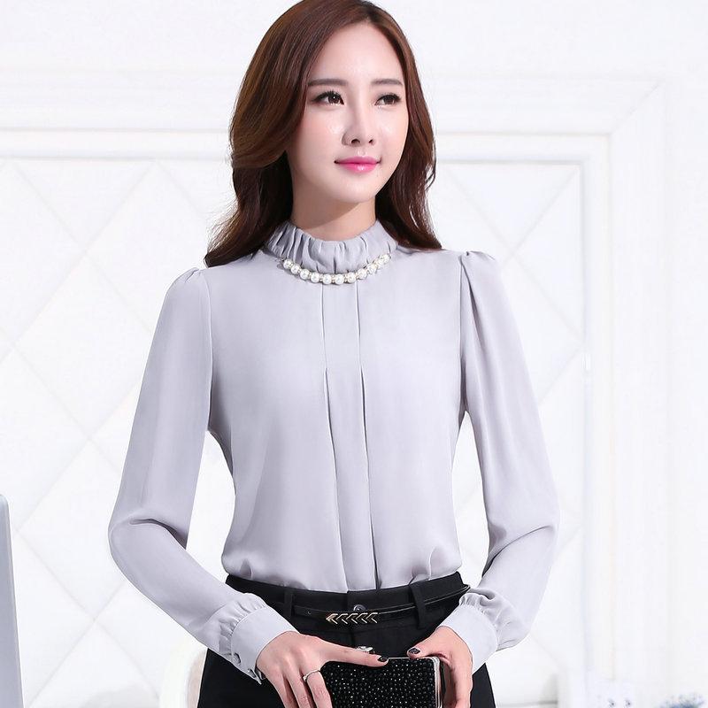 เสื้อผู้หญิงแขนยาวคอเต่า สีเทา เป็นชุดทำงานชุดยูนิฟอร์มเรียบหรู