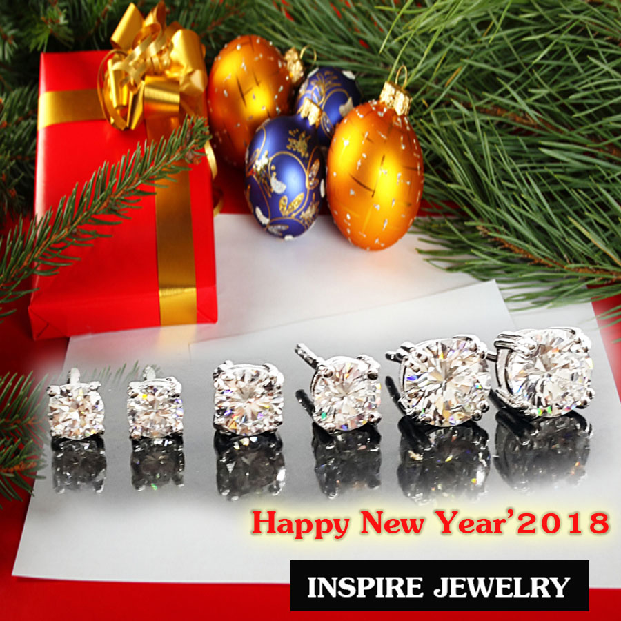 INSPIRE JEWELRY ต่างหูเพชรสวิสเกรด AAA++ น้ำงาม เจียเหลี่ยม H&A งานจิวเวลลี่แบบร้านเพชร ร้านทอง ตัวเรือนขึ้นด้วยทองเหลืองนอก ชุบทองขาว / Pattinum plated สำหรับเป็นของขวัญปีใหม่ 2018 ,วันเกิด,วาเลนไทน์ หรือใส่เองได้กับเสื้อผ้าทุกชุด