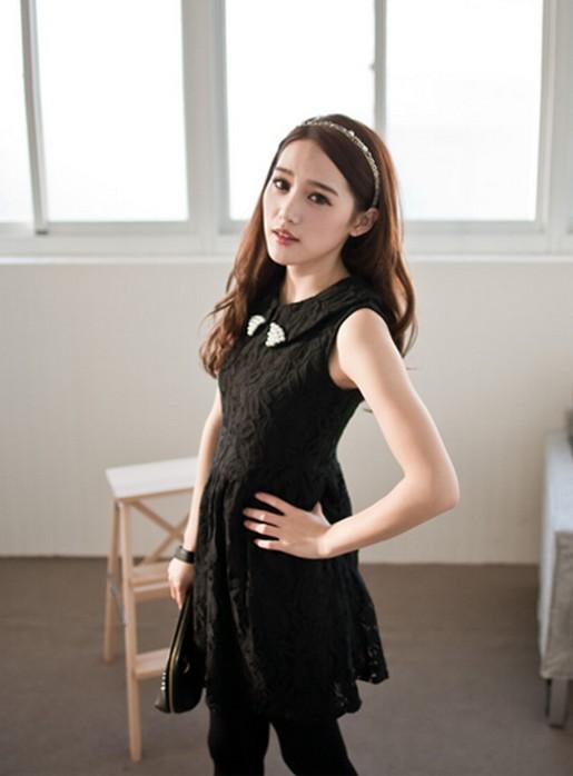 """""""พร้อมส่ง""""เสื้อผ้าแฟชั่นสไตล์เกาหลีราคาถูก เดรสลูกไม้แขนกุด สีดำ คอปกแต่งลูกปัด ซิปหลัง มีซับใน"""