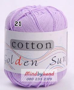 ไหมพรม Cotton 100% รหัสสี 21 Light Perple