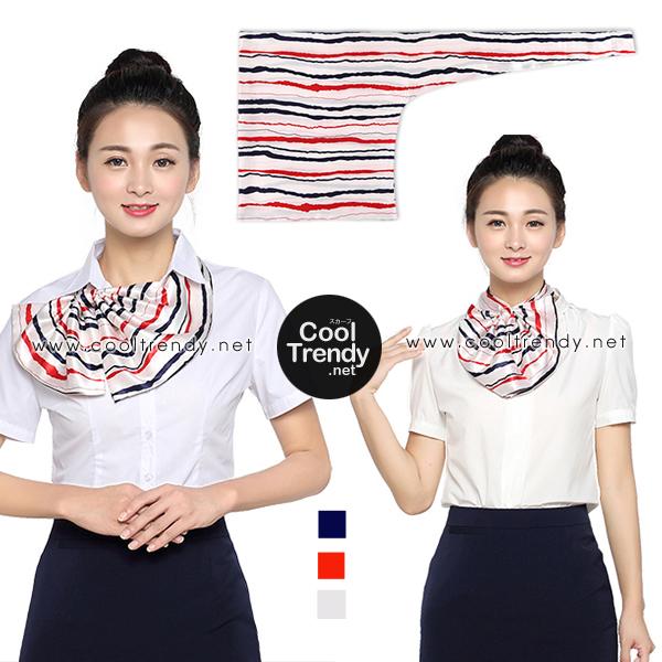 ผ้าพันคอสำเร็จรูป ผ้ายูนิฟอร์ม uniform ผ้าไหมซาติน ผ้าพันคอลายธงชาติ : L24