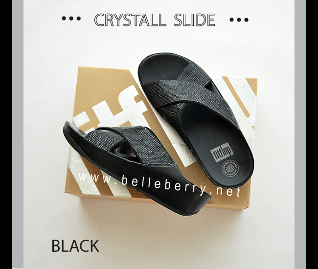FitFlop Crystall Slide : Black : Size US 8 / EU 39