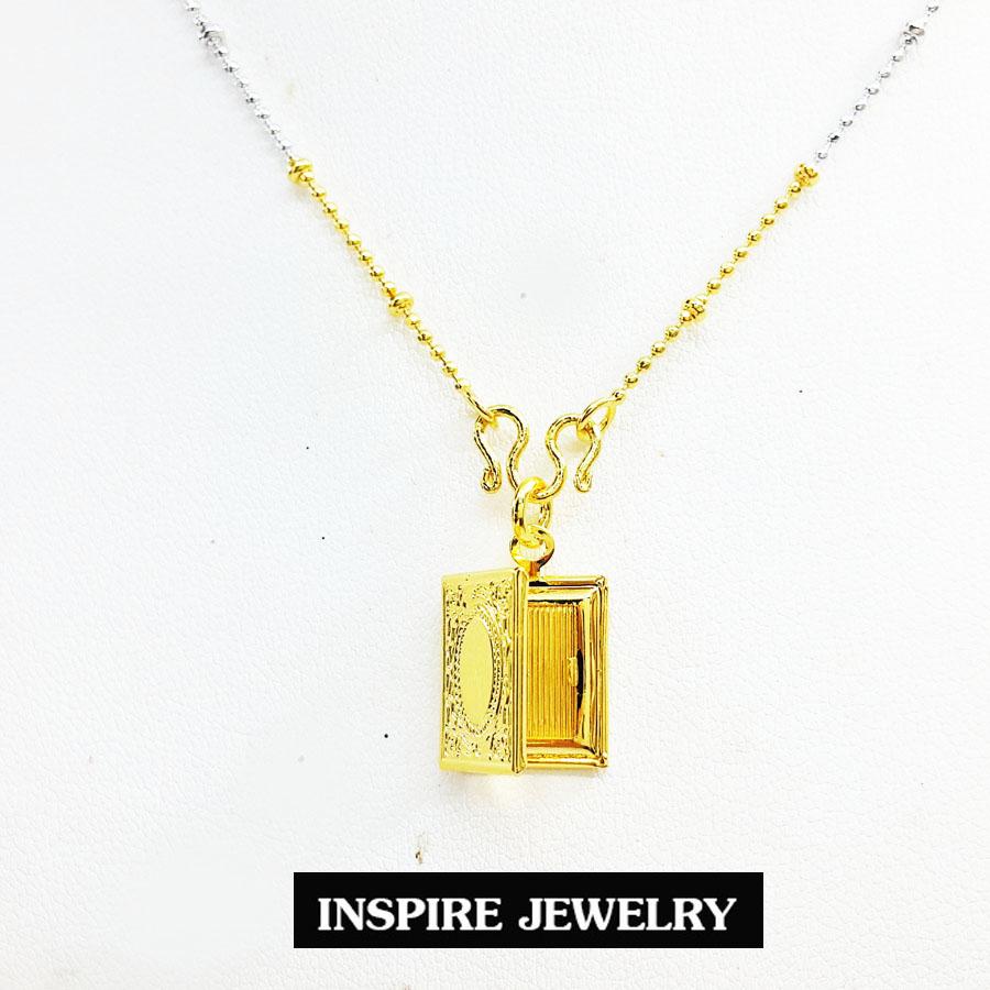 Inspire Jewelry ,สร้อยคอสองกษัติย์พร้อมจี้ล็อคเก็ตใส่ภาพได้ เปิดปิดได้ เป็นรูปสมุด สีทอง น่ารัก เสริมมงคล แก้ชง พร้อมกล่องกำมะหยี่