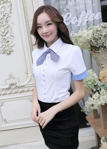 เสื้อเชิ้ตทำงานแขนสั้น สีขาว