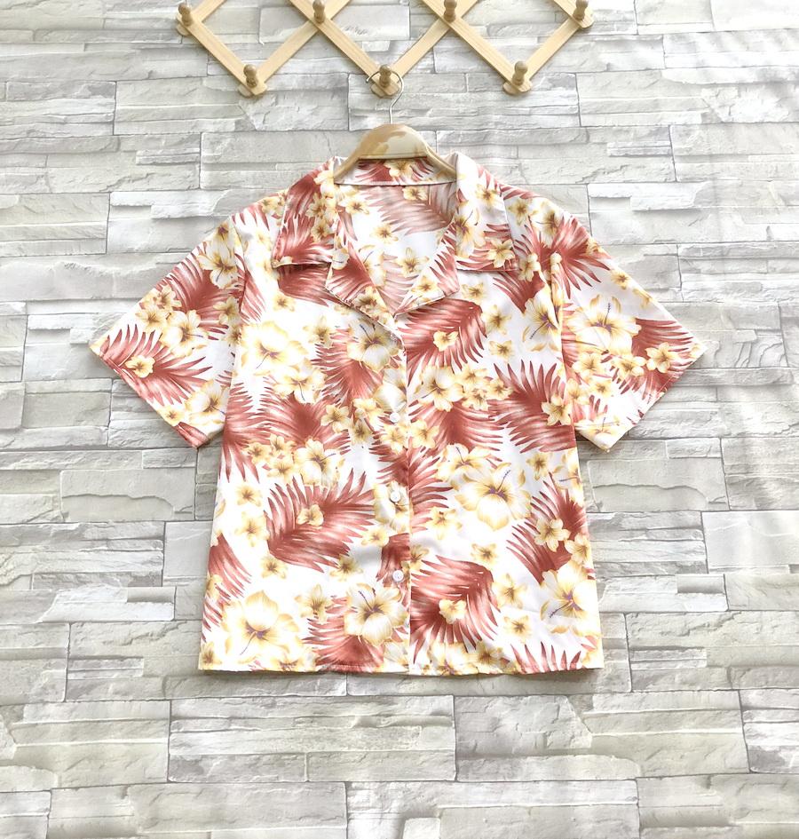 ส่ง:เสื้อปกฮาวายลายดอกสดใสผ้าใส่พริ้วๆ/อก40