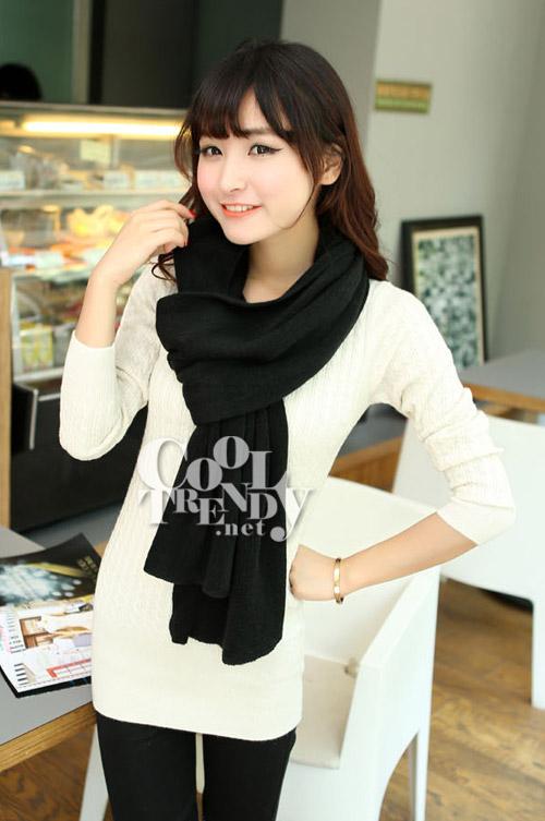 ผ้าพันคอไหมพรม ผ้า cashmere scarf size 180x30 cm - สี Black