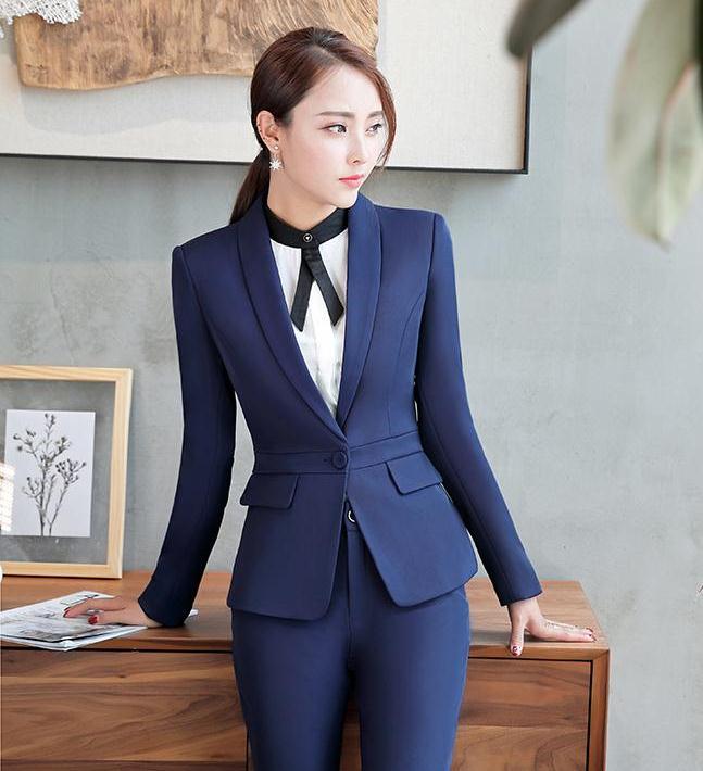 ชุดสูทผู้หญิงยูนิฟอร์มพนักงานออฟฟิต เสื้อสูทมีปกสีน้ำเงิน พร้อมกางเกงสูทสีน้ำเงิน