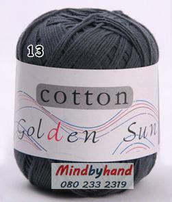ไหมพรม Cotton 100% รหัสสี 13 Ink Green