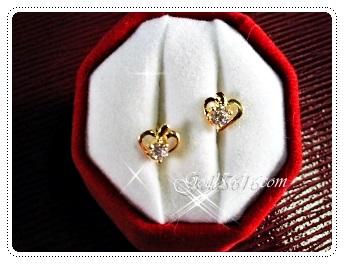 ต่างหูหัวใจโปร่งเพชร1เม็ด gold plated
