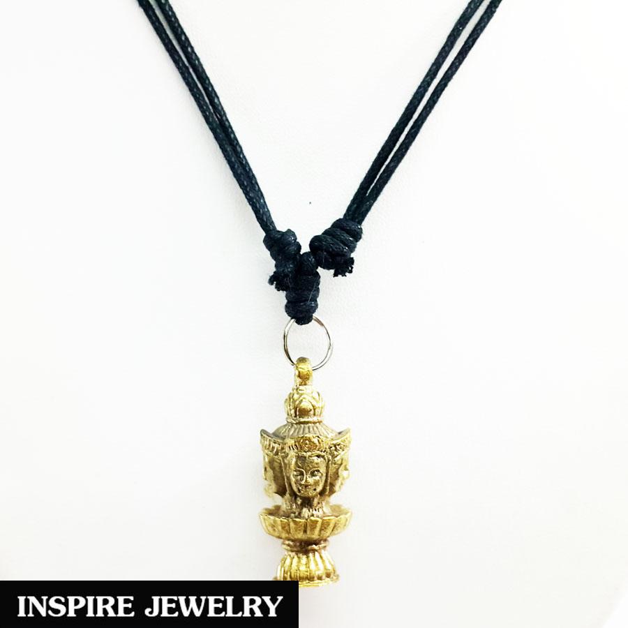 Inspire Jewelry จี้พระพรหมสี่หน้า หล่อด้วยทองเหลือง บูชาเพื่อช่วยปัดเป่าความขัดข้องอุปสรรค และส่งเสริมโชคและความสำเร็จ พร้อมเชือกเทียนปรับไซด์ได้