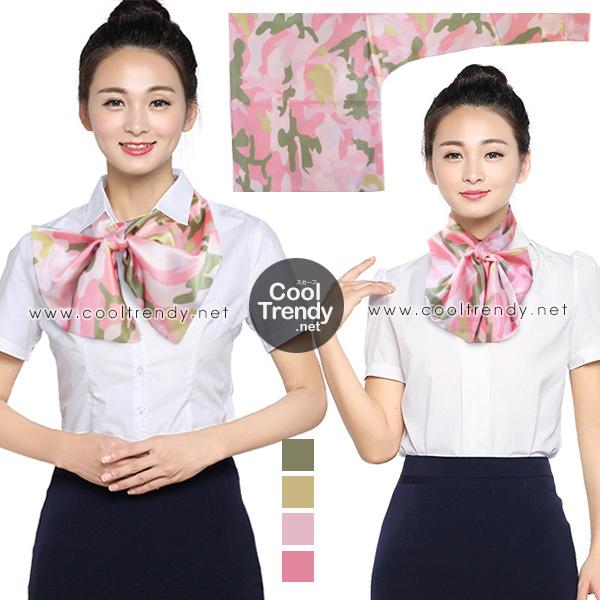 ผ้าพันคอสำเร็จรูป ผ้ายูนิฟอร์ม uniform ผ้าไหมซาติน : L113