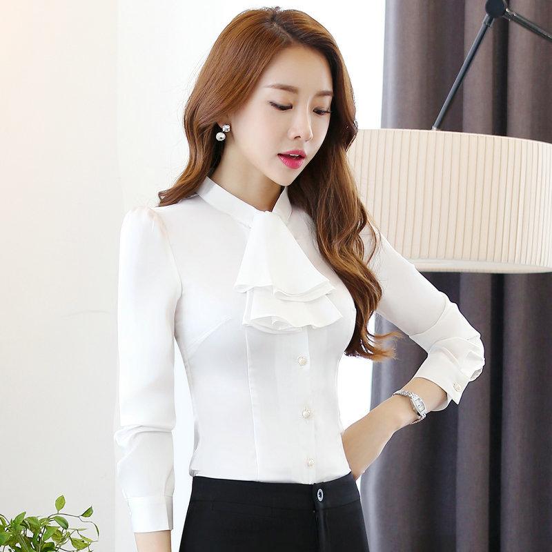 เสื้อทำงานผู้หญิงแขนยาวระบายหน้า สีขาว ชุดยูนิฟอร์มเรียบหรู