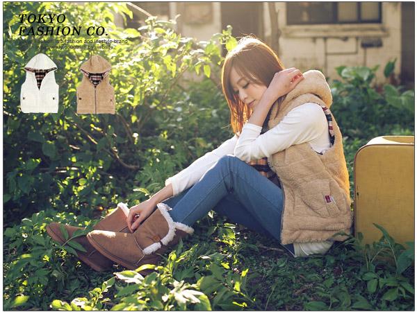 """""""พร้อมส่ง""""เสื้อผ้าแฟชั่นสไตล์เกาหลีราคาถูก Brand Tokyo Fashion เสื้อกั๊กใส่ได้2ด้าน ขนสีน้ำตาลและลายสก๊อต มีฮู้ด กระเป๋า2ข้าง รูดซิปหน้า น่ารัก อุ่นดีค่ะ"""