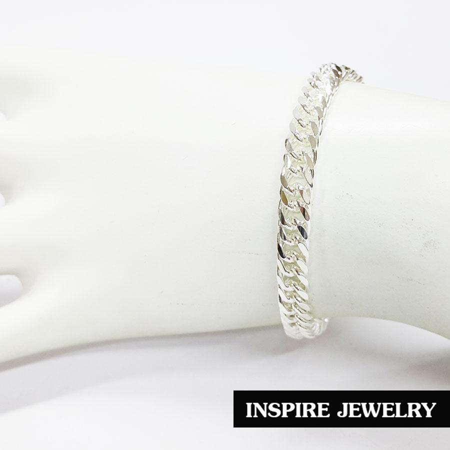 Inspire Jewelry , สร้อยข้อมือชุบเงิน size 0.5x18cm. Silver Plated พร้อมถุงกำมะหยี่