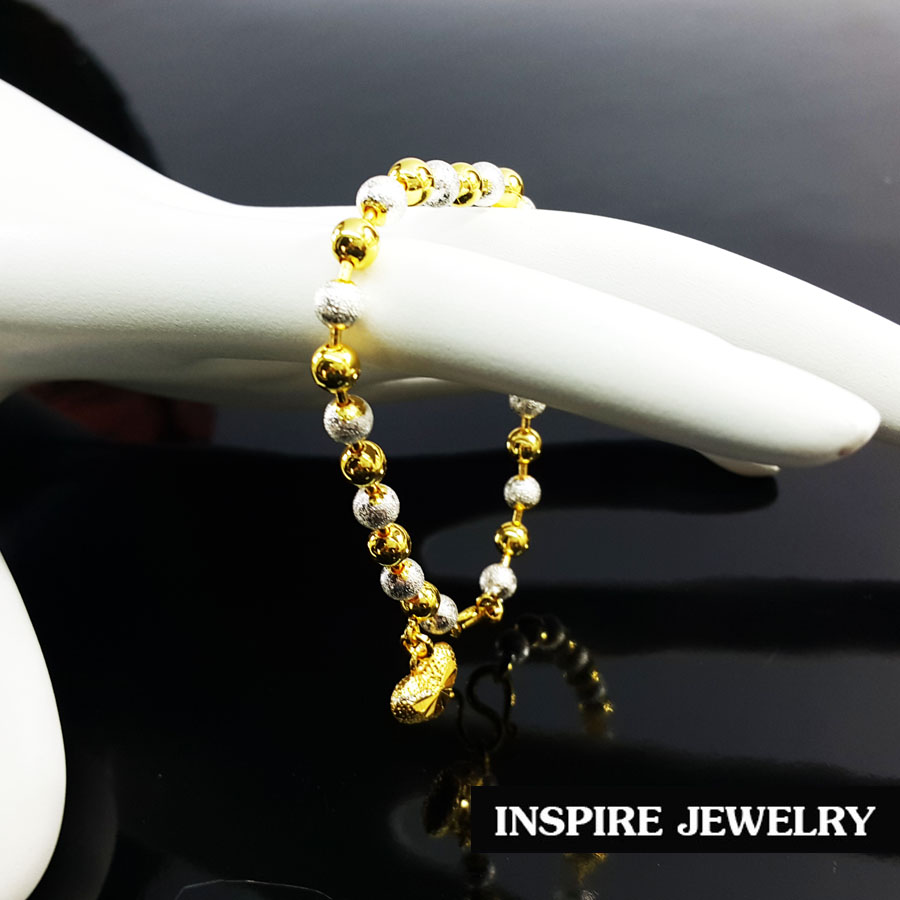 Inspire Jewelry สร้อยข้อมือ 2กษัติรย์ น้ำหนัก 9กรัม ยาว 16-19cm. งานทองไมครอน ชุบเศษทองคำแท้ และเงินแท้ ทำซาติน