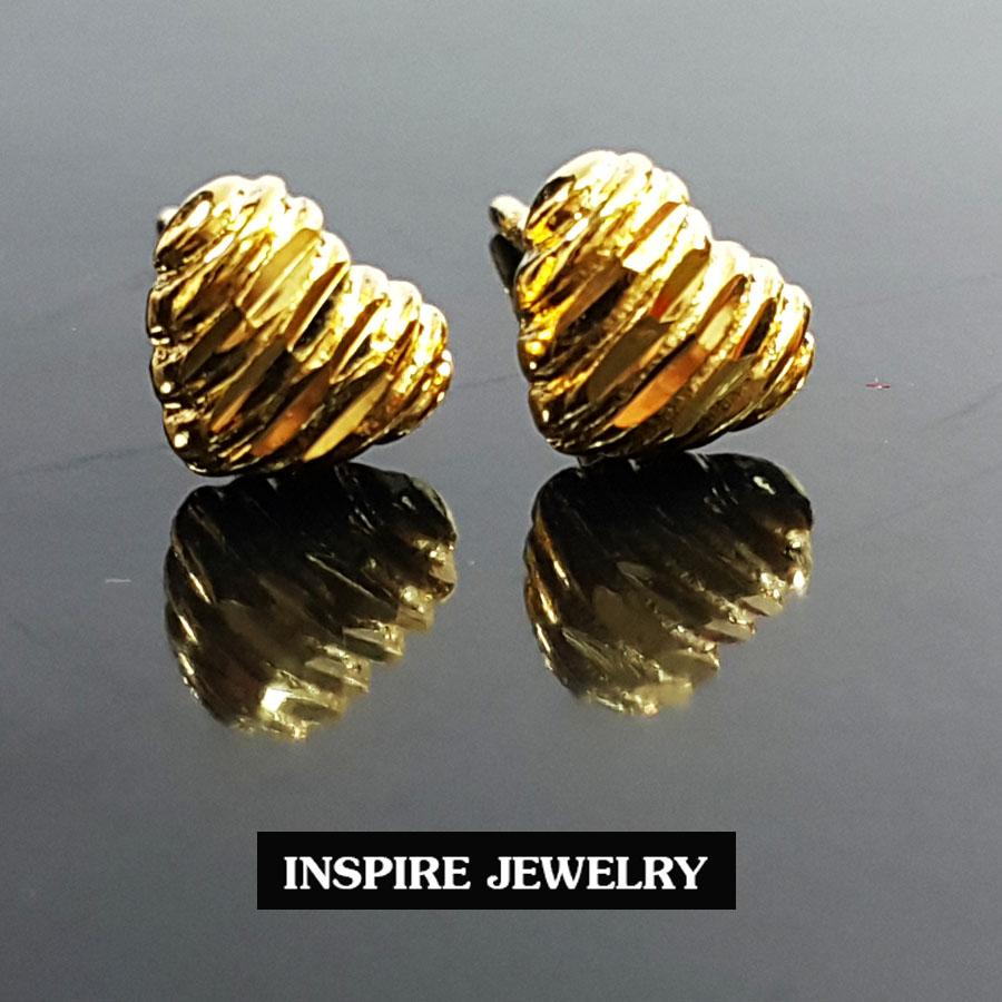 Inspire Jewelry ,ต่างหูรูปหัวใจตอกลาย หุ้มทองแท้ 100% 24K สวยหรู พร้อมกล่องทองกลม สีแดง