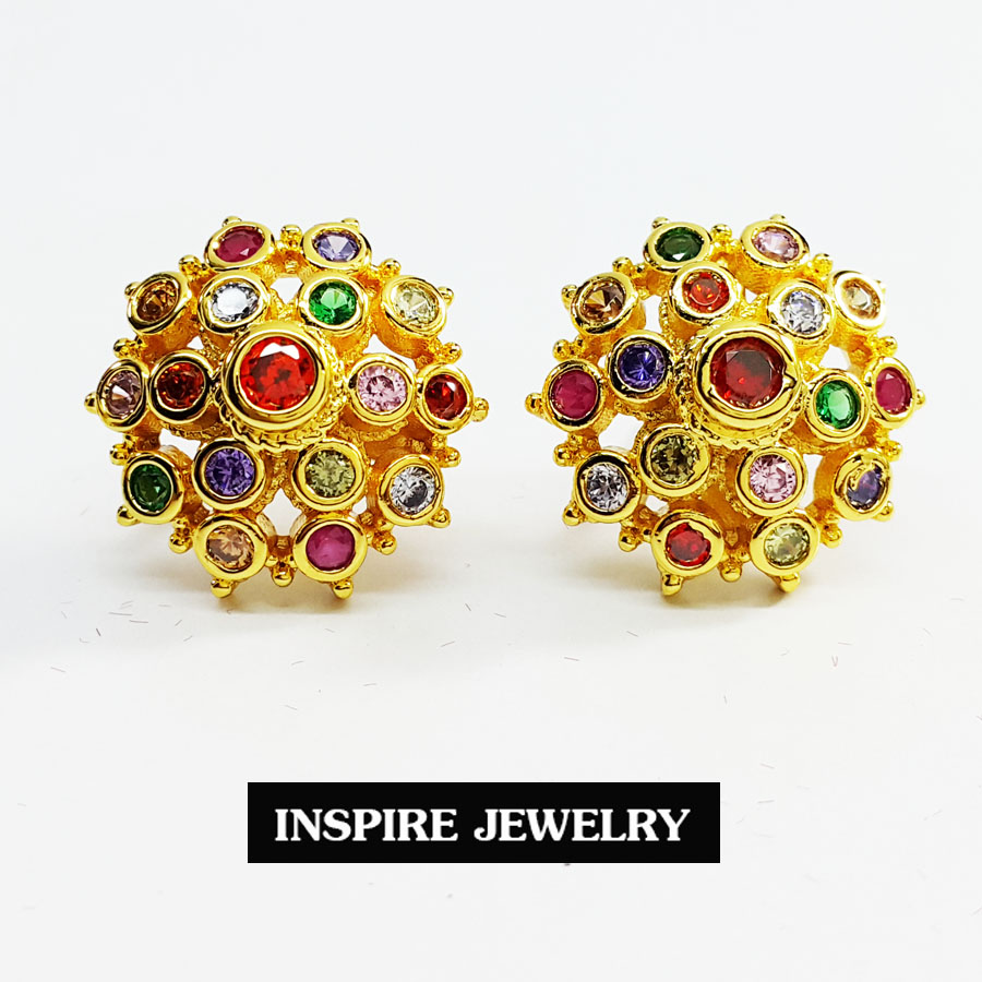 Inspire Jewelry ,ต่างหูยกยอดฝังพลอยนพเก้า หรือแก้ว9ประการ พรเก้าประการ ตัวเรือนหุ้มทองแท้100% 24K สวยหรู มีจำนวนจำกัด