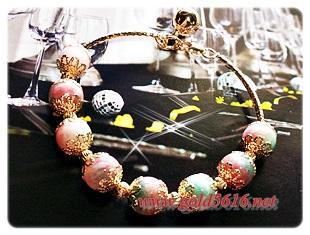 กำไลนาก หินฮกลกซิ่ว Pink gold plated 0.5microns