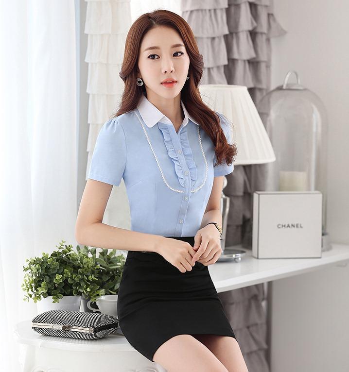 เสื้อเชิ้ตทำงานแขนสั้น สีฟ้า เป็นชุดยูนิฟอร์ม ชุดพนักงานออฟฟิต