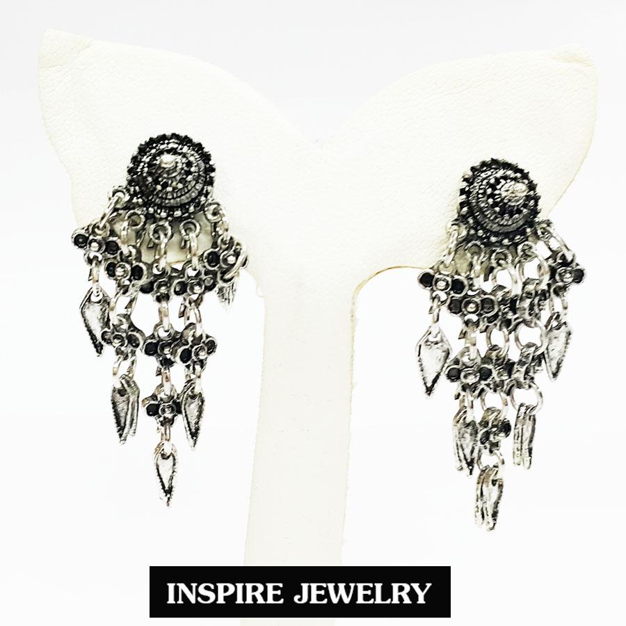 Inspire Jewelry ต่างหูงานแฟชั่น เทียมเงินรมดำ สำหรับใส่กับชุดไทย ผ้าฝ้าย ผ้าไทยทุกชนิด หรือใส่เล่นได้กับทุกชุด พร้อมถุงกำมะหยี่