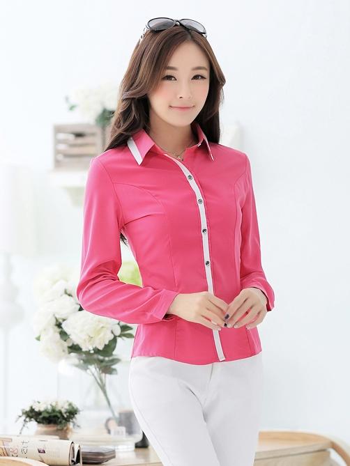 เสื้อเชิ้ตผู้หญิงแขนยาว สีชมพู