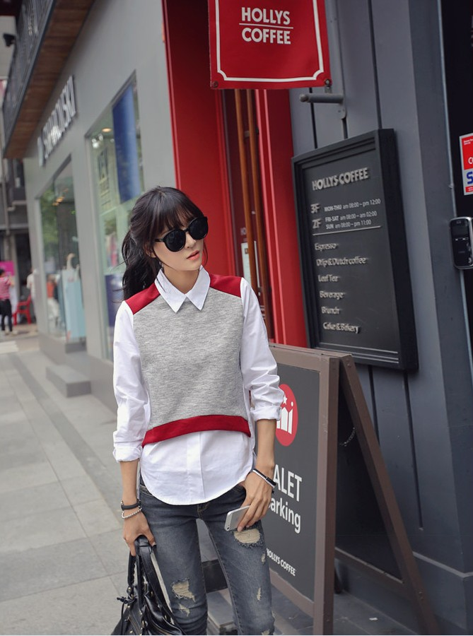 พร้อมส่ง (ฟรีไซส์) ATA321 ใหม่! เสื้อมีปกซิปหลังดีไซน์สวยเหมือนใส่เสื้อทับด้านนอก #411