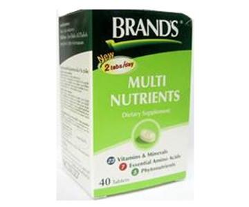 Brannds แบรนด์ Multi Nutrients 40 เม็ด ผลิตภัณฑ์เสริมอาหารที่จำเป็นสำหรับร่างกาย สำหรับผู้ที่ทำงานหนัก พักผ่อนน้อย ผู้ป่วยระยะพักฟื้น